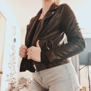 forever 21 black leather jacket size L